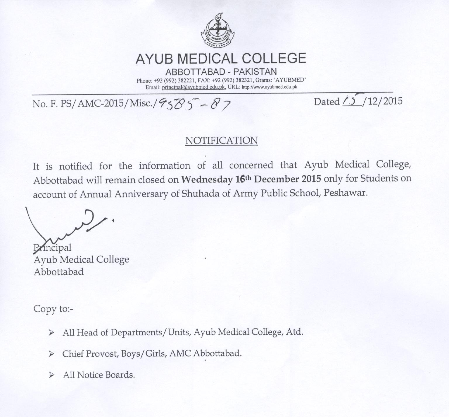 College will remain closed on 16-12-2015