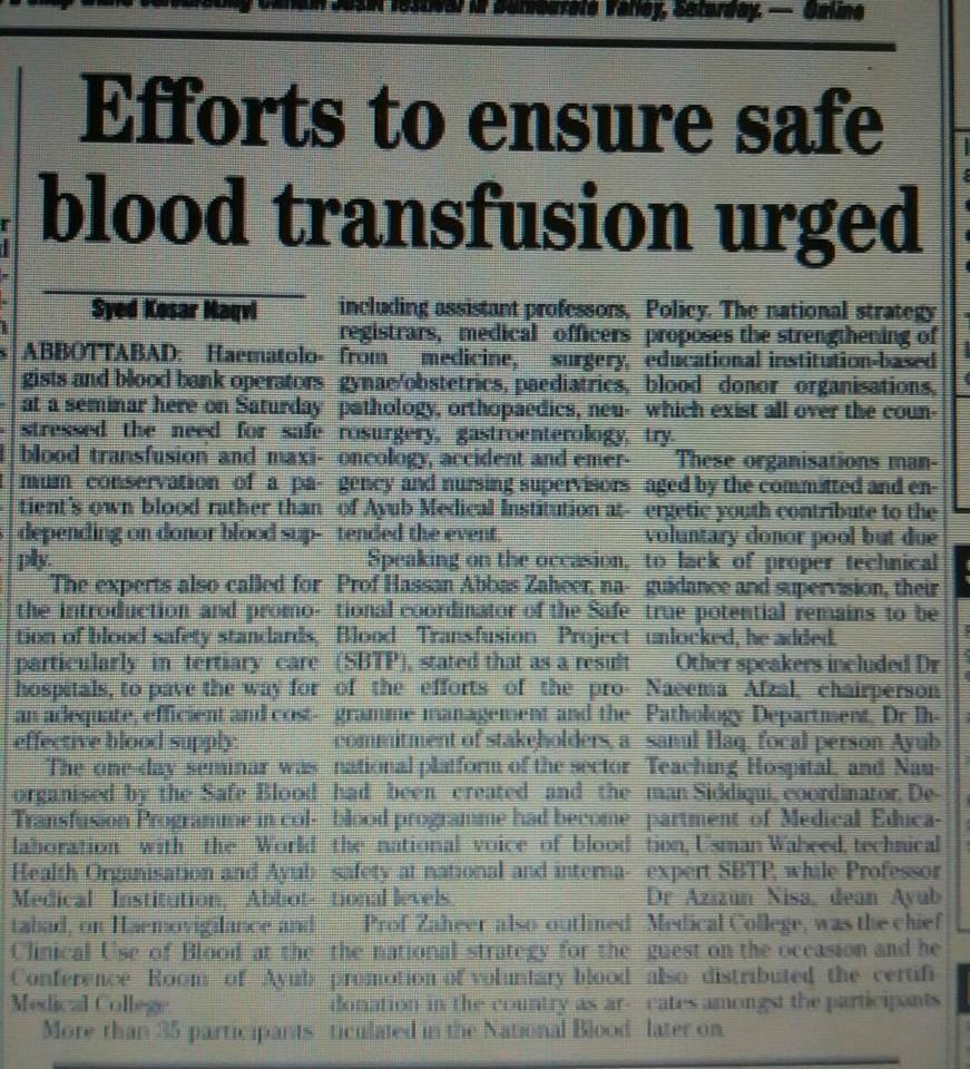 Efforts to ensure safe blood transfusion urged.