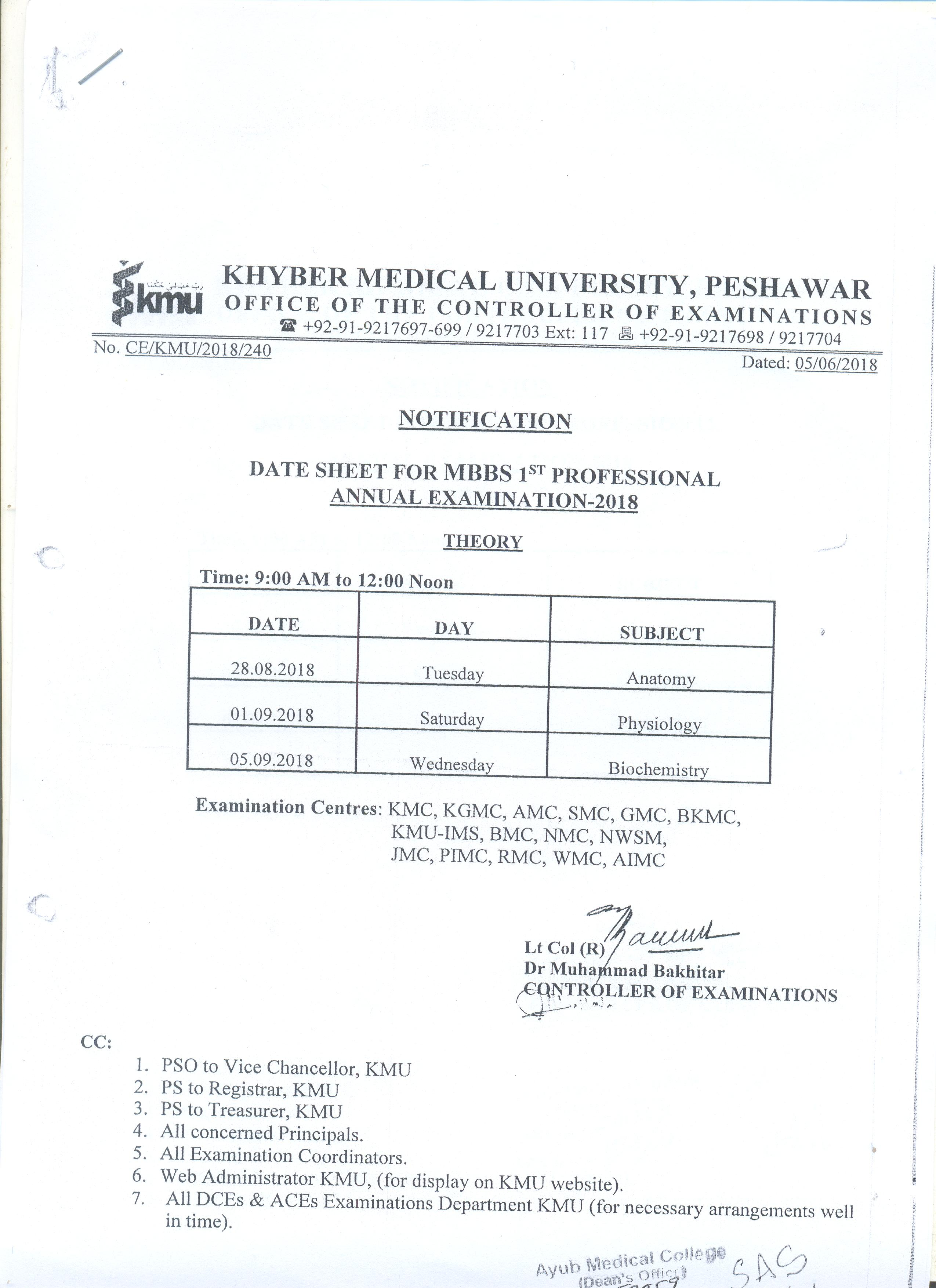 Professional Examination Date Sheets - Ayub Medical College